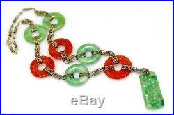Art Deco Qing Dynasty Carved Natural Jadeite Jade & Carnelian 14K Gold Necklace