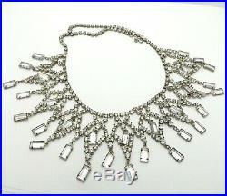 Art Deco Rhodium Plated Rhinestone Dangle Festoon Necklace Choker 17