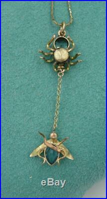Art Deco Spider and Fly Pendant Necklace Blue Topaz Gold Victorian Insect RARE