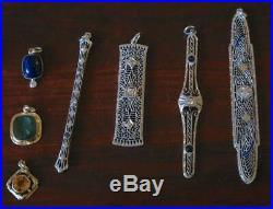 Art Deco Star Moon Diamond Pendant Charm Necklace White Gold Victorian
