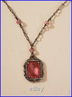 Art Deco Sterling Silver Czech Glass Paste Lavaliere Necklace Paperclip Chain
