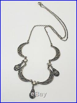 Art Deco Sterling Silver Filigree Festoon Lavaliere Necklace
