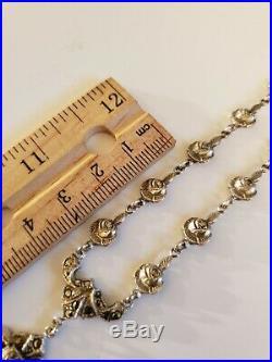 Art Deco Sterling Silver Marcasite Lavaliere Necklace 20 Grams