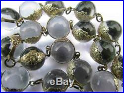 Art Deco Sterling Silver Pools of Light Undrilled Quartz Orb Bead Necklace