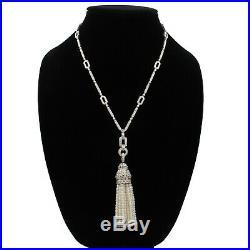 Art Deco Style 900 Platinum 5.5 Ctw Diamond & Pearl 19 Tassel Necklace #e-214