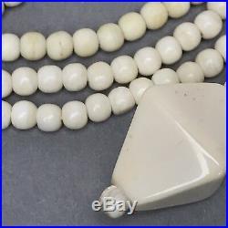 Art Deco vintage Damen Schmuck Halskette Bein weiß 92cm lang Necklace Collier20
