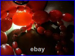 Art deco Cherry Amber Bakelite Necklace large 93g