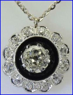 Astonising antique Art-Deco 1.5ct Diamond&Onyx 18k white gold pendant necklace