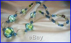 Beautiful ART DECO BI COLOUR Uranium + RARE CAMPHOR MELON GLASS Vintage NECKLACE