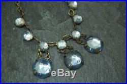 Beautiful Antique/Art Deco Czech Blue Mirrored Vauxhall Glass Festoon Necklace