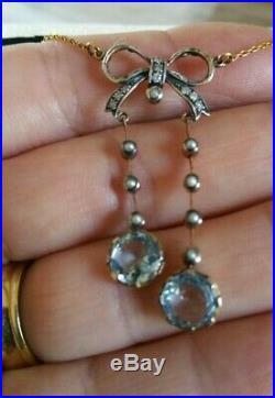 Beautiful Art Deco Diamond Aquamarine & Seed Pearl Gold Bow Dangle Necklace