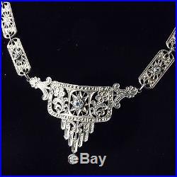 Birks Art Deco Panel Necklace White Metal Antique Glass Stones Not Diamonds A723