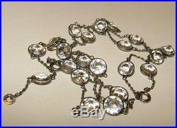 Brilliant, Long, Art Deco, Platinon Necklace With Rock Crystal Quartz Gems