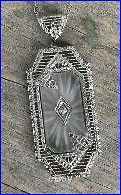 C1930 Art Deco CAMPHOR GLASS Necklace DIAMOND Paste Sunray Crystal RHODIUM PLATE