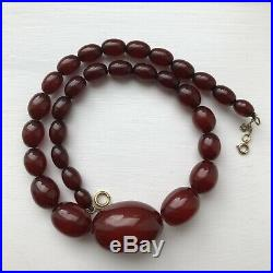 Cherry Amber Bakelite Faturan Art Deco Necklace 9ct Gold Clasp 29.9g