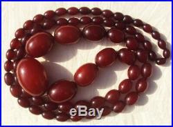 Cherry Amber Bakelite Faturan Beads Necklace 56g Old Vintage Art Deco