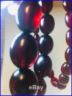 Cherry Amber Bakelite Graduated Beads Necklace Vintage 1930 Art Deco 61.2 Grams