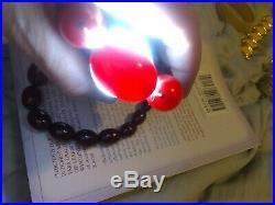 Cherry Amber Translucent Bakelite Necklace Faturan Vintage Beads Art Deco 66g