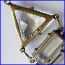 ELEGANT ANTIQUE ART DECO CZECH OPEN BACK SET CRYSTAL GLASS PENDANT NECKLACE