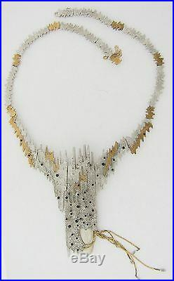 Erte Sophistication Necklace 14K Gold Silver Sapphires Diamonds Mother of Pearl