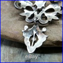 Estate Art Deco 4-Piece Sterling Silver 925 Marcasite Lavalier Necklace 18