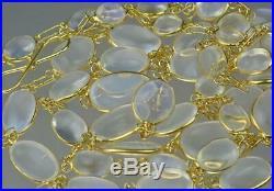 Fabulous Antique Art Deco 14K Gold Bezel Set Graduating Moonstone Necklace