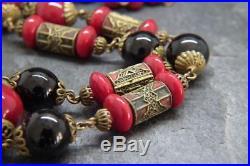 Fabulous Antique Art Deco Czech Neiger Brothers Glass Bead Necklace