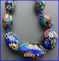 Fabulous, Chunky, Flapper Length Vintage Venetian Millefiori Glass Bead Necklace