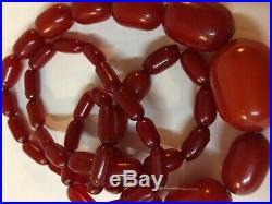 Fine Art Deco Cherry Amber Necklace Appx 94 Grams