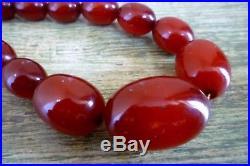 Genuine Art Deco Cherry Amber Bakelite Graduated Beads Necklace Faturan 52 Grams