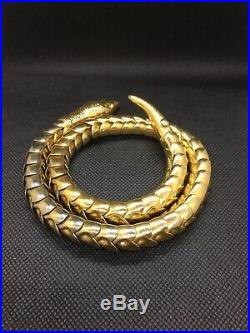 Gold Art Deco Vintage Articulated Snake Serpent Necklace Choker Marked Pat Pend