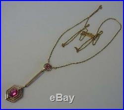 Gorgeous Antique Art Deco 14ct Gold & Ruby Pendant Necklace