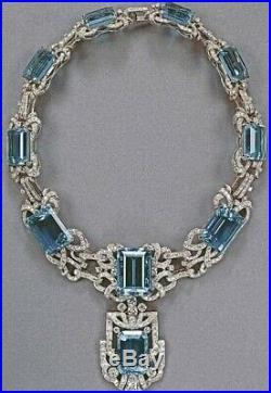 Gorgeous Art Deco Style Large 675.00CT Aquamarine With 61.26CT CZ Deco Necklace