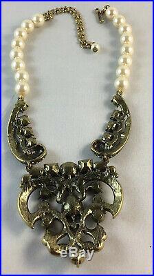 HEIDI DAUS ART DECO Vintage Design Crystal Accent Drop Necklace