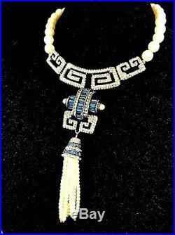 Heidi Daus Gigi Faux Pearl Necklace Sapphire Rhinestone Art Deco Tassel Pendant