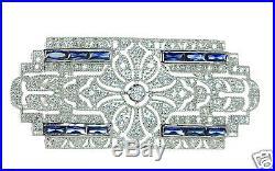 Joseph Esposito Diamoniq. Solid 925 Sterling Silver Art Deco Pin Brooch Necklace