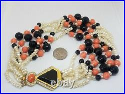 Kenneth Jay Lane Art Deco Faux Coral & Pearl Beaded Torsade Chunky Necklace