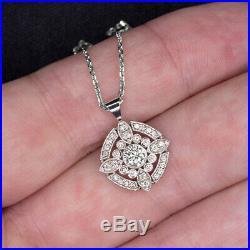 Natural Diamond Pendant Vintage Halo Necklace Art Deco Style White Gold Antique
