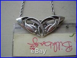 OLA GORIE Art Deco style Flower NECKLACE \ Necklet Sterling Silver