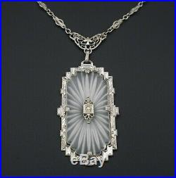 PSCo Art Deco Camphor Glass Sunray Sterling Silver Necklace 17 NS1650