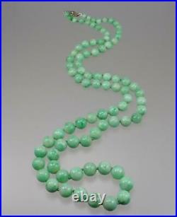 Pretty Antique Art Deco 14K Gold Diamond GIA Jadeite A Jade Bead Necklace 28'