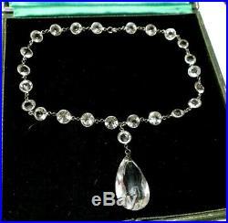 RARE! Antique Edwardian Art Deco Bezel Set Rock Crystal Riviere Necklace Pendant