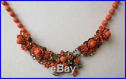 RARE Vintage Miriam Haskell Coral Bead Rhinestone Choker Necklace Art Deco