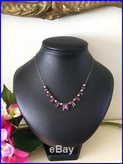 Rare Antique Vintage Art Deco Purple Amethyst Vauxhall Glass Mirrored Necklace