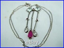 Rare Art Deco White Metal Ruby & Aquamarine Drop lavaliere Necklace Circa 1920's