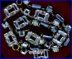 Rare Necklace Vauxhall Glass C1920 Art Deco Czech Blue Mirrored Impeccable Deco