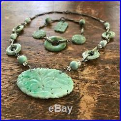 SET Vintage Antique Art Deco Sterling Carved Chinese Jade Bracelet Necklace WOW