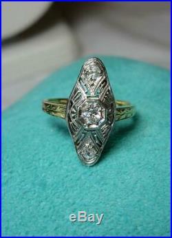 Sapphire Diamond Pendant Art Deco Necklace 14K Gold Edwardian Wedding OMC