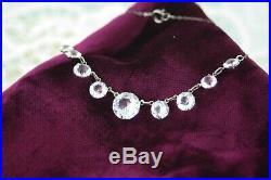 Silver Rhodium Art Deco Open Back Crystal Paste Necklace