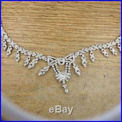 Spectacular Vintage Art Deco 18k Diamond Necklace! Perfect! Nr